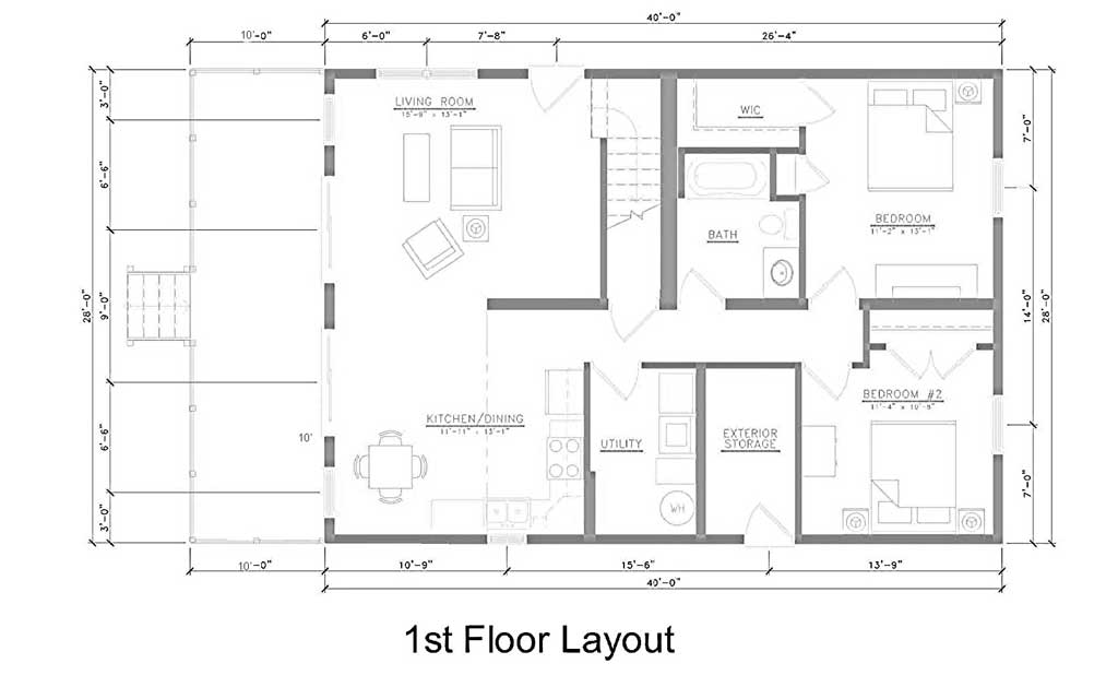 East point villas middle bass island for Living room kitchen layout